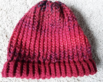 Deep Red Knit Winter Hat