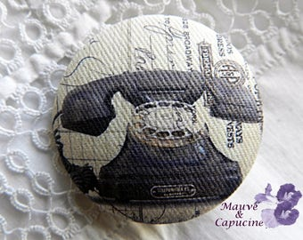 Button fabric with vintage telephone, 32 mm / 1.25 in diameter