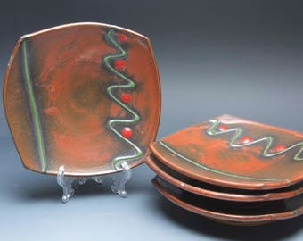 Sale - Handmade pottery appetizer plate set, stoneware luncheon plates, iron red 3950