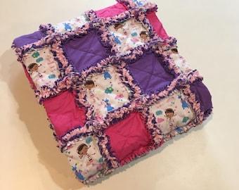 "Pink and Purple Doc McStuffins Baby Rag Quilt   32"" x 40"""