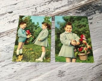 Vintage Postcards, Retro Postcard, Vintage 1960's, Children's Postcards, Retro Photo Postcard, Boy and Girl, Vintage Postcards, Postcard Set