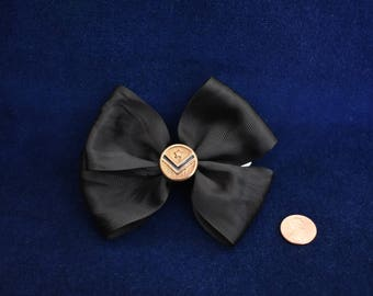 Black Bow with Military Button