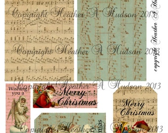 Shabby Vintage chic Victorian Christmas Gift Card Holders and Tags Digital Collage sheet