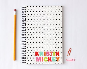 Personalized Notebook Custom Polka Dot Journal Colorful Bound Note Book Black and White Notepad School Supplies Graduation Gift Paper