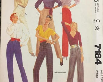 80's McCall's 7184 Misses' Pants  size 14 Waist 28 inches  Uncut Complete Sewing Pattern