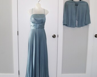 Gorgeous 1970s full length gown in blue with cape
