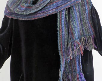 SCARF. Handwoven silk,mohair,wool,rayon,soft,warm and luxurious