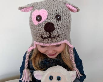 Hand Knit Puppy Dog Hats for Toddlers | Children's Knit Puppy Hats with Ear Flaps | Cute Puppy Hats for Boys and Girls