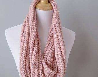 Crochet Infinity Scarf - Cowl - Blush Pink - Winter - Hygge
