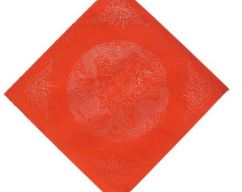 Chinese Calligraphy Material  34x34cm Red Xuan Paper Couplets / Square / Double Dragons / 1 Piece - 0017C