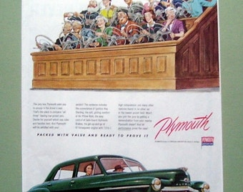 1950 Join The Jury for Plymouth Car Sedan Original Ad Period Paper Collectible White Wall Tires