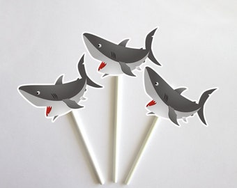 Shark Cupcake Toppers - Fish Cupcake Toppers - Under The Sea Cupcake Toppers (62817616P)