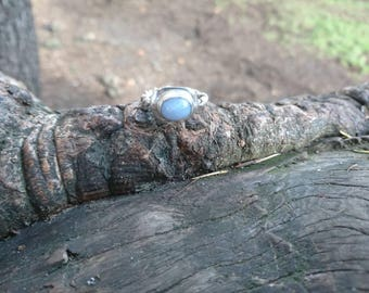 Blue Banded Agate set in Sterling Silver with a twisted band