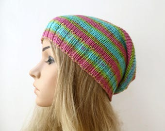 Cotton Slouchy Beanie, Hand Knit Hat, Women's Slouch Beanie, Pink Green Cotton Slouch Beanie, Spring Summer Eco Beanie, ClickClackKnits