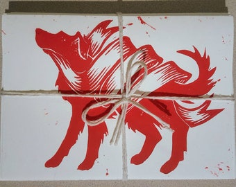 5 Pack Dog and Scroll Cards (5x7in, available in red or black)