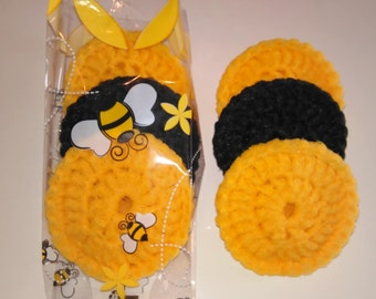 Dish Scrubbers, Pot Scrubbers, Nylon Scrubbers, Crochet Scrubbers, Extra Large, Double Layered, Set of 3, Great Gift