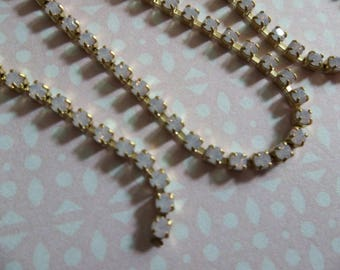 2mm Pink Opal Rhinestone Chain - Brass Setting - Rose Pink Opal Preciosa Czech Crystals
