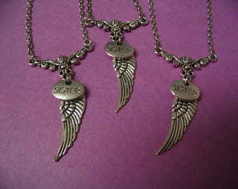 3 Sisters Angel Wing Necklace Set Jewelry for Sisters Gift