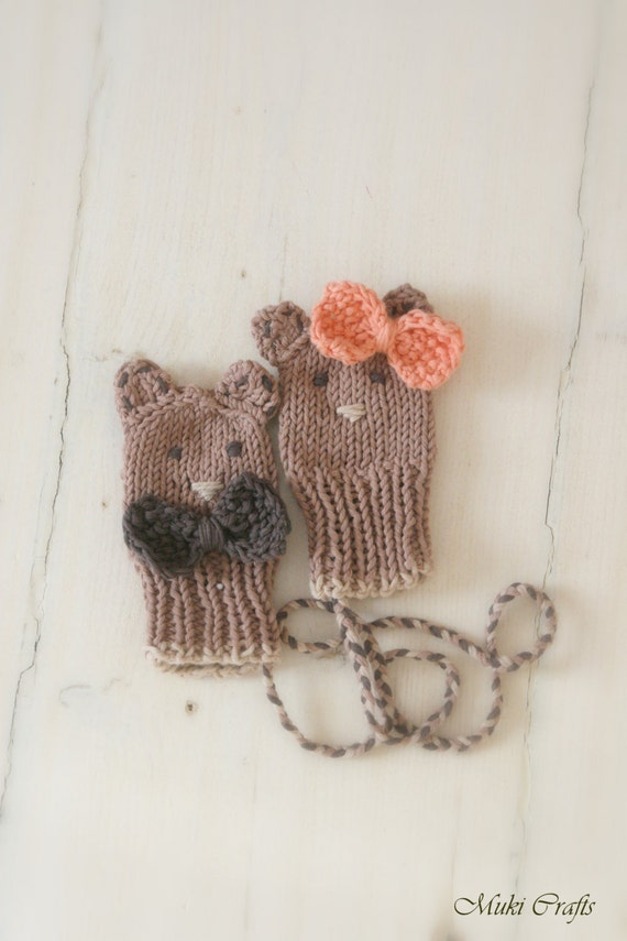 KNITTING PATTERN thumbless baby bear or mouse mitts Fabian