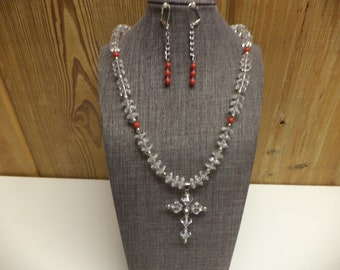 Beaded Cross Necklace and Earring Set