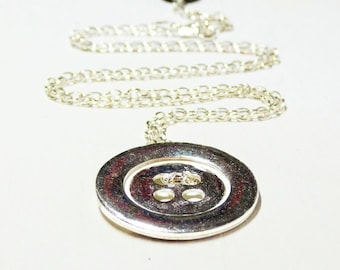 WAS 38.00 ,NOW 29.00  Gifts for her - sterling Silver Button Design Necklace