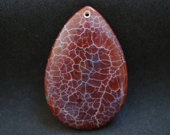 AGATE TEARDROP shape PENDANT Brown and white