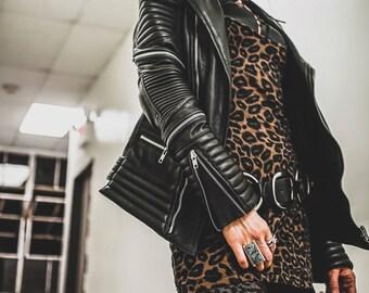 MOONLIT women's black leather moto biker jacket with silver hardware