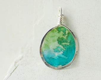Blue Green Necklace, Mini Painting Necklace, Planet Earth Art, Aerial View, 1st Anniversary Gift, Paper Jewelry, Biologist Gift, Scientist
