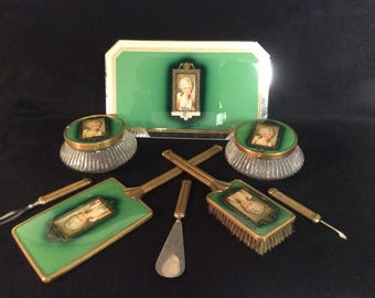 1939 Victorian Portrait Lady 10 Piece Dresser Set E-62