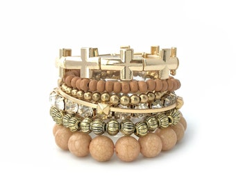Earth Tone Bracelet, Multistrand Beaded Bracelet, Stretch Bracelet, Boho Chic Bracelet, Stackable Bracelet Set, Tribal Bracelet, Handmade,JW