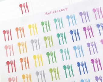 Cutlery/Meal/Food/Fork Knife Spoon Planner Stickers