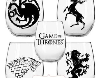 Game of Thrones Stemless Wine Glass Set, House Stark, House Lannister, House Baratheon, House Targaryen