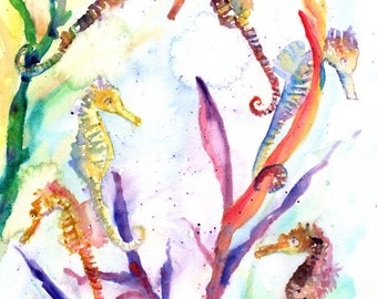seahorse painting, watercolor sea horse , sea life watercolor,  original watercolor,  ocean art, kids art, kids room, waikiki aquarium