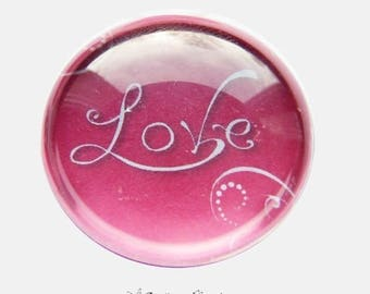 2 cabochons craft love heart message glass 20 mm - N154