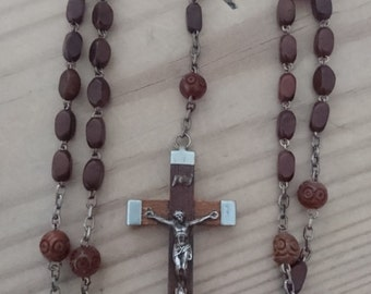 Vintage French wooden beaded Rosary