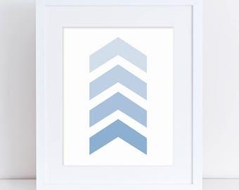 Boy Nursery Art, Baby Boy Decor, Blue Arrow Art, Arrow Art Print, Arrow Nursery Art, Nursery Digital Art, Printable Arrow Art, Blue Chevron