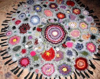 """OOAK Crocheted Afghan """"Mama's Millifiori"""""""