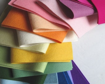 Wool Felt Assortment, 18 Sheet Set, Choose Size, Rainbow Colors, Merino Wool, 1mm Thick, Felt Set, DIY Kit, Embroidery Floss Option
