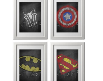 superhero wall art prints, super hero wall art, chalkboard wall art, superhero bedroom decor, chalkboard prints, set of 4 shipped