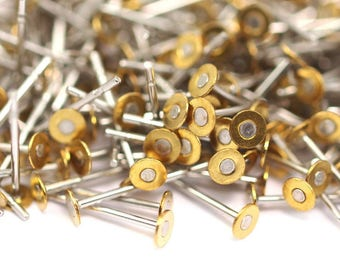 316L Earring Findings Set, 100 Stainless Steel Earring Posts With Raw Brass 3mm Flat Pad ,ear Studs ( A0391 )