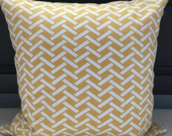 Mustard Yellow Stitched Print Accent Pillow Cover