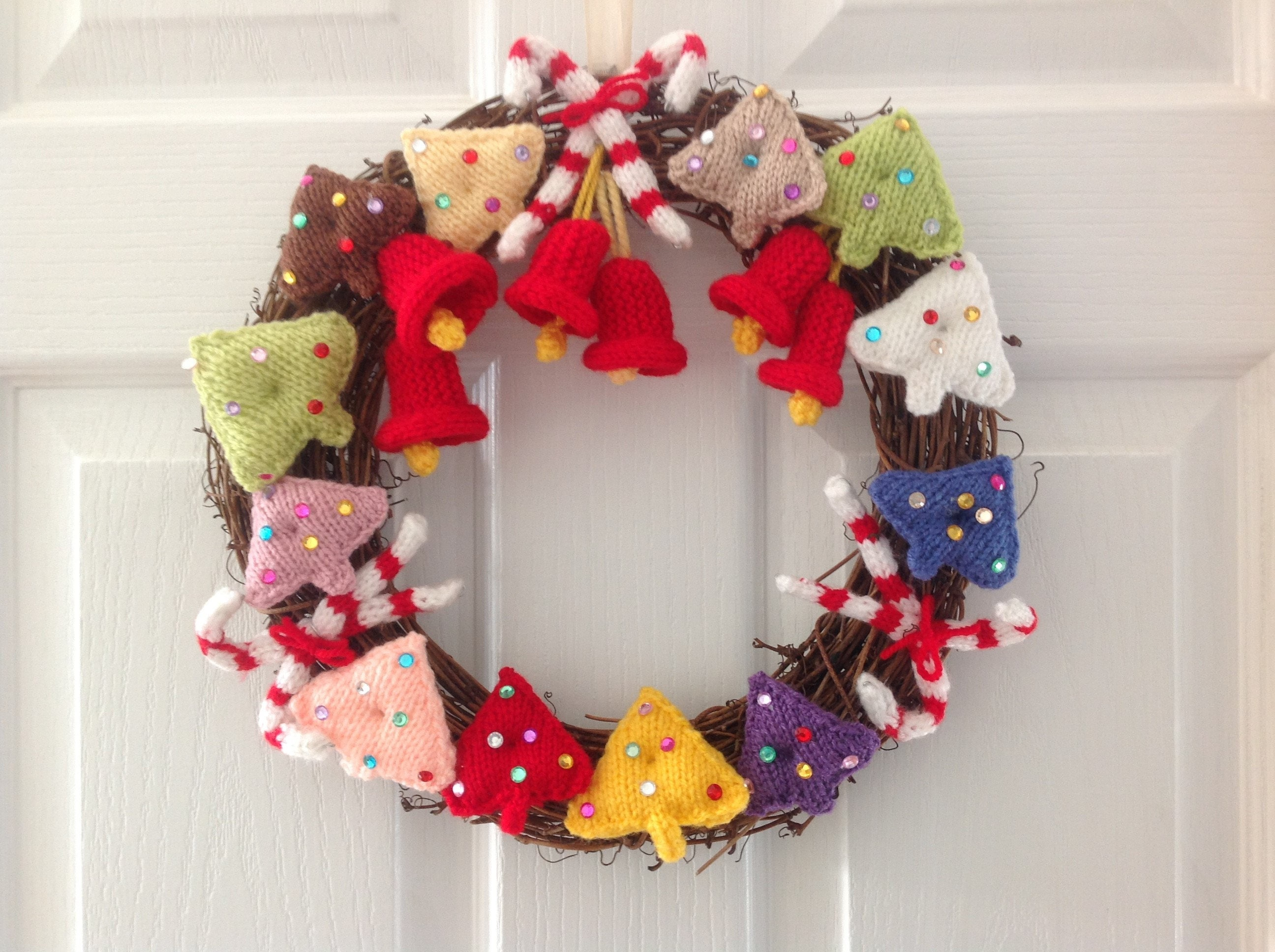 Knitting pattern for Christmas Wreath, Festive Xmas Decoration, pdf ...