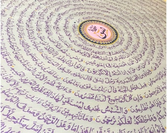 ISLAMIC ART: 'Heart of Qur'an' Surah Ya'sin Round Canvas