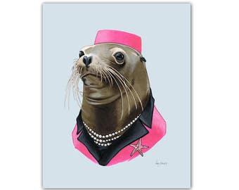 Sea Lion Lady art print by Ryan Berkley 5x7