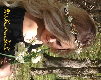 Floral WEDDING CROWN with silk apple blossoms & golden yellow pip berries on a grapevine crown, Bridal floral crown, Boho wreath, GOLDENROD