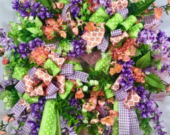 SALE** Lavender, Coral, and Green Spring and Summer Mesh Door Wreath WAS 135.00
