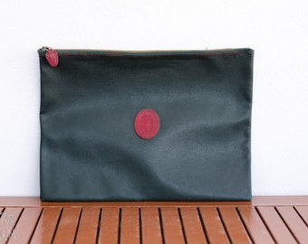 90's TRUSARDI Green Leather Envelope Bag