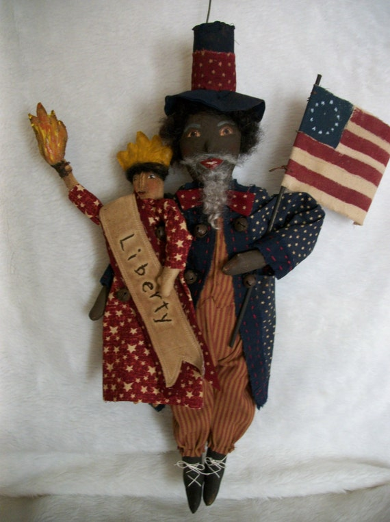 Primitive doll PATTERN black uncle Sam and lady Americana