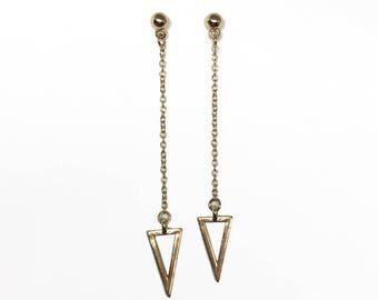 Triangle chain dangle stud earring