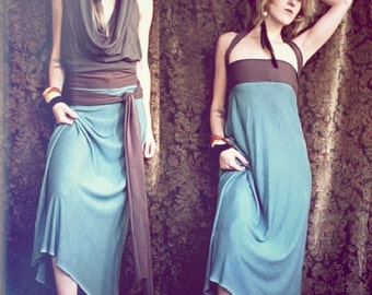 nomad. convertible travel dress. organic bamboo hemp blend. choose your color. 'made to order'
